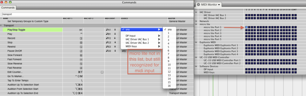 Specifying a midi input source for commands control